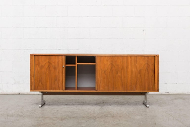 Mid-Century Modern Teak Credenza with Tambour Doors For Sale