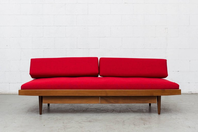 Upholstery Midcentury Perriand Style Daybed with Drawers For Sale