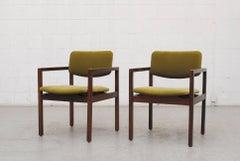 Pair of Modernist Armchairs in Dragon Green Velvet