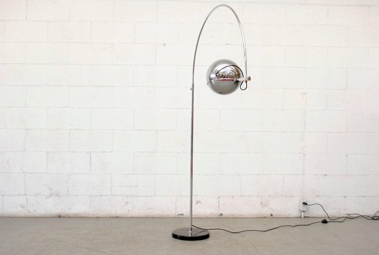 Dutch Large Gepo Standing Chrome Arc Lamp For Sale