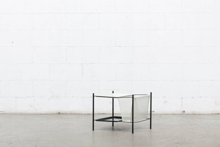 Mid-20th Century Pilastro Wire Magazine Rack and Side Table For Sale