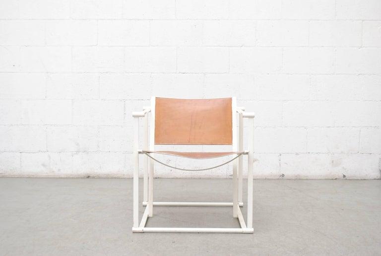 Mid-Century Modern Pastoe Cube Lounge Chair by Radboud Van Beekum in Natural Leather For Sale
