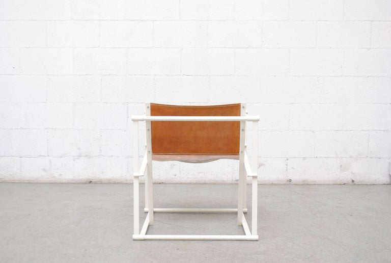 Pastoe Cube Lounge Chair by Radboud Van Beekum in Natural Leather In Good Condition For Sale In Los Angeles, CA