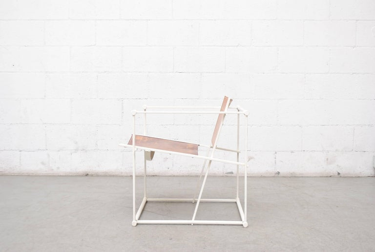 Dutch Pastoe Cube Lounge Chair by Radboud Van Beekum in Natural Leather For Sale
