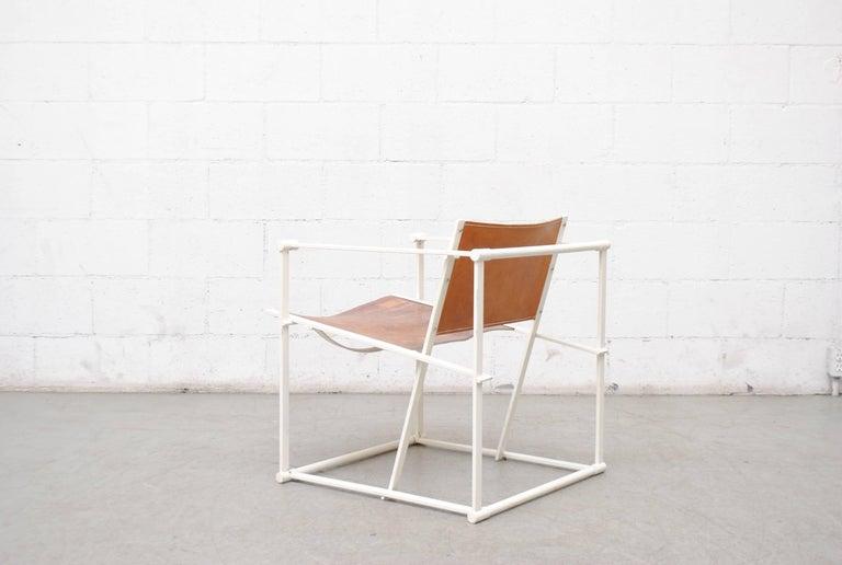 Enameled Pastoe Cube Lounge Chair by Radboud Van Beekum in Natural Leather For Sale