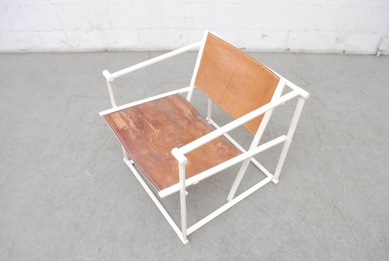Mid-20th Century Pastoe Cube Lounge Chair by Radboud Van Beekum in Natural Leather For Sale