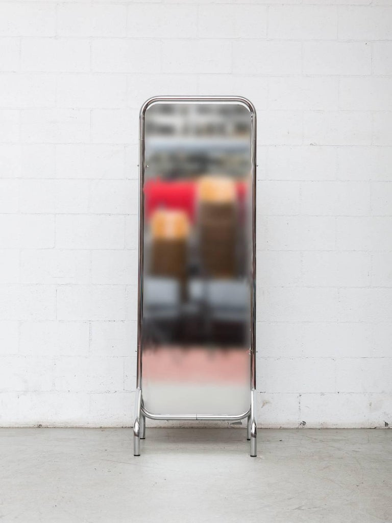 Vintage Gispen tall standing midcentury chrome mirror designed. Thick original tubular chrome frame with original mirror. A fave of ours!