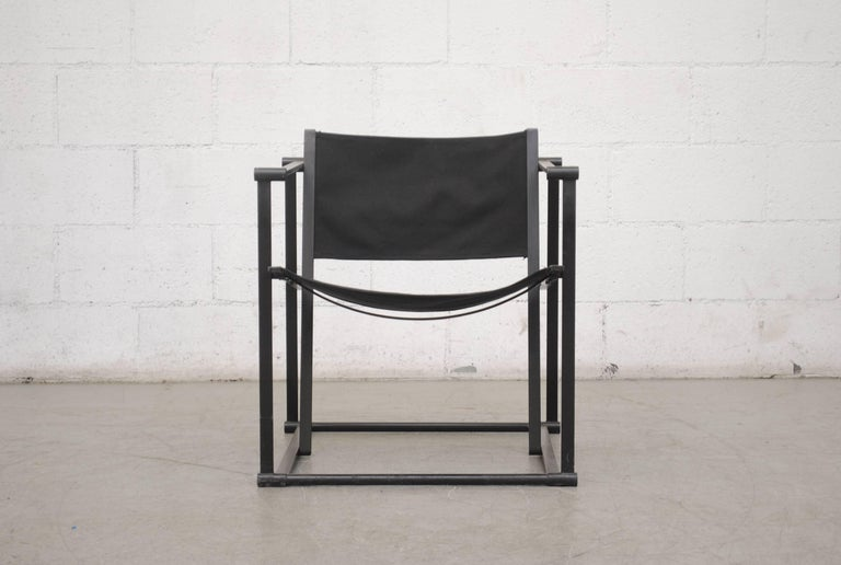 UMS Pastoe FM60, Cubic Lounge Chair, designed in 1980 by Radboud van Beekum. Black Enameled Steel Frame with Original Black Canvas Seating. Frame is in Original Condition with Some Wear to Enamel.