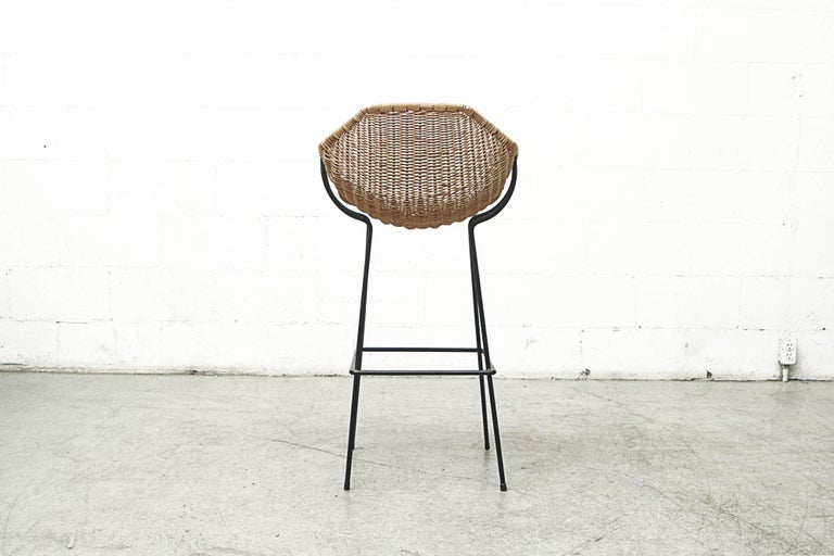 Mid-20th Century Pair of Rare Dirk Van Sliedregt Rattan Bucket Bar Stools For Sale