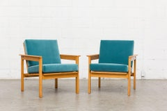 Pair of Midcentury Slat Back Lounge Chairs in Turquoise Velvet