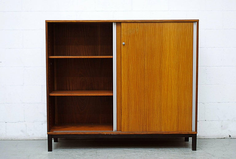 Dutch Giant Midcentury Teak Office Cabinet For Sale