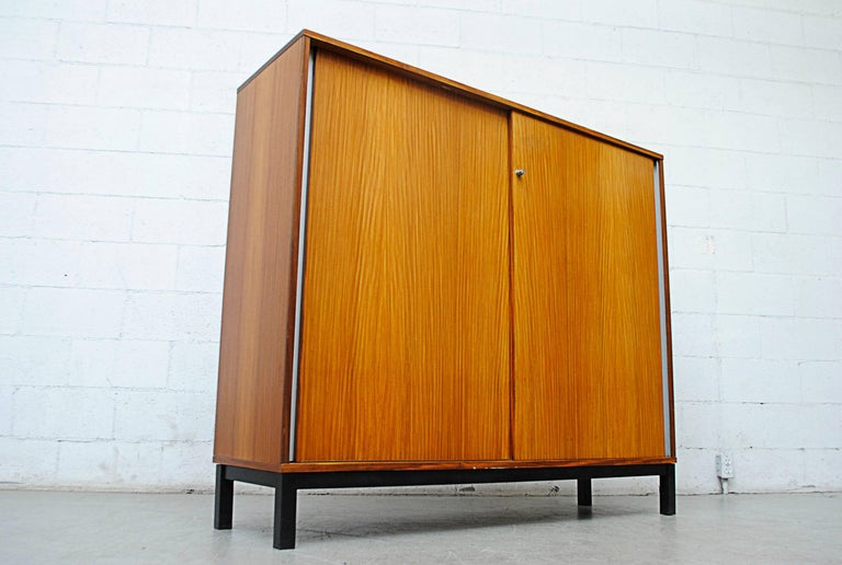 Enameled Giant Midcentury Teak Office Cabinet For Sale