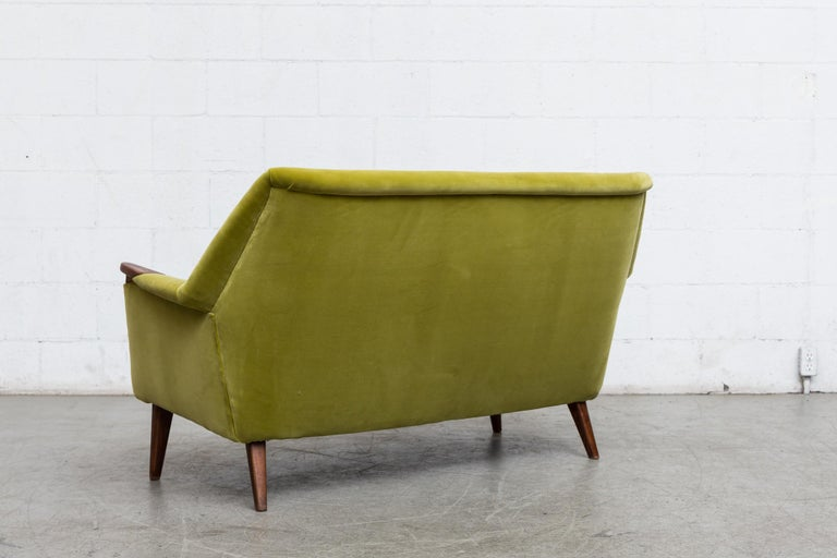 Dutch Theo Ruth Inspired Kiwi Velvet Midcentury Loveseat For Sale