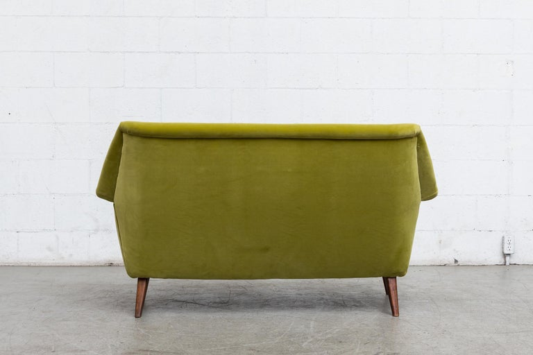 Theo Ruth Inspired Kiwi Velvet Midcentury Loveseat In Good Condition For Sale In Los Angeles, CA