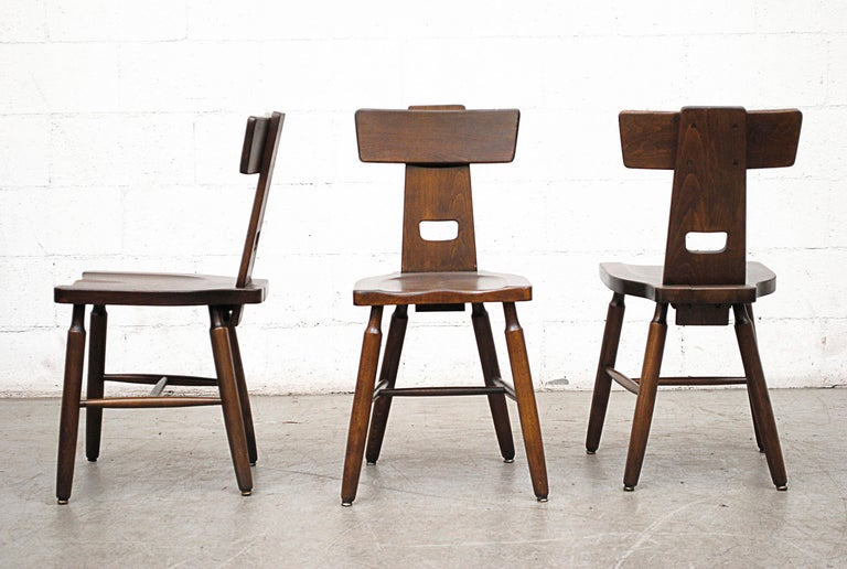 Set of six Brutalist T-Back dining chairs inspired by Pierre Chapo. Lightly refinished dark oak plank dining chairs. Good original condition. Set price.