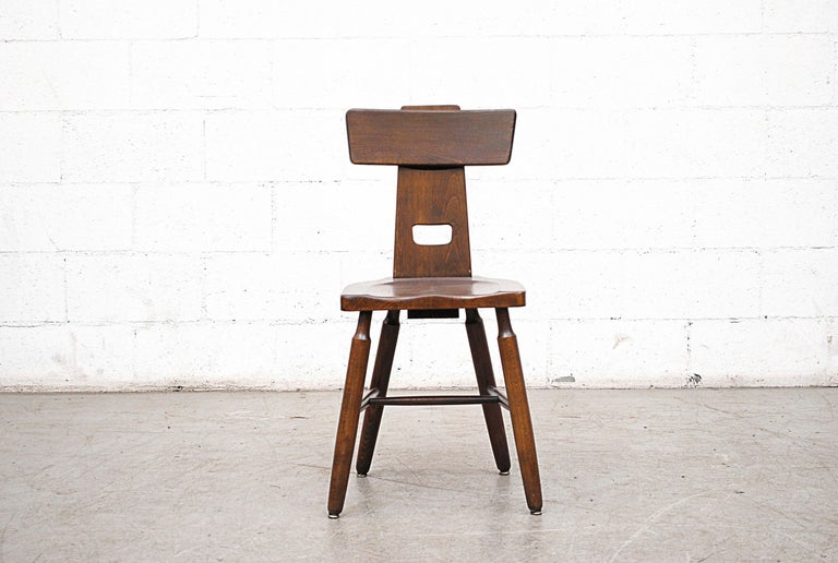 Mid-Century Modern Set of Six Brutalist Pierre Chapo Style Chairs For Sale