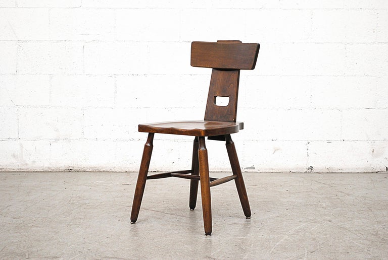 Dutch Set of Six Brutalist Pierre Chapo Style Chairs For Sale