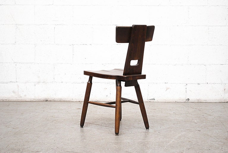 Mid-20th Century Set of Six Brutalist Pierre Chapo Style Chairs For Sale