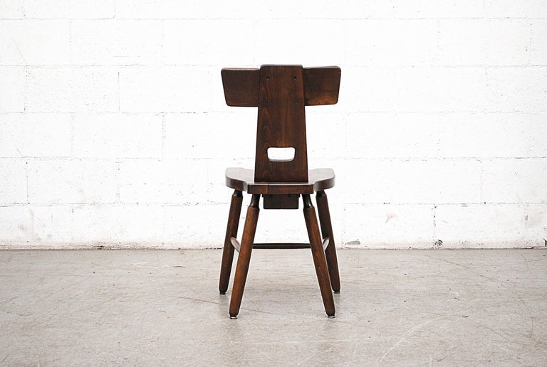Set of Six Brutalist Pierre Chapo Style Chairs For Sale 1