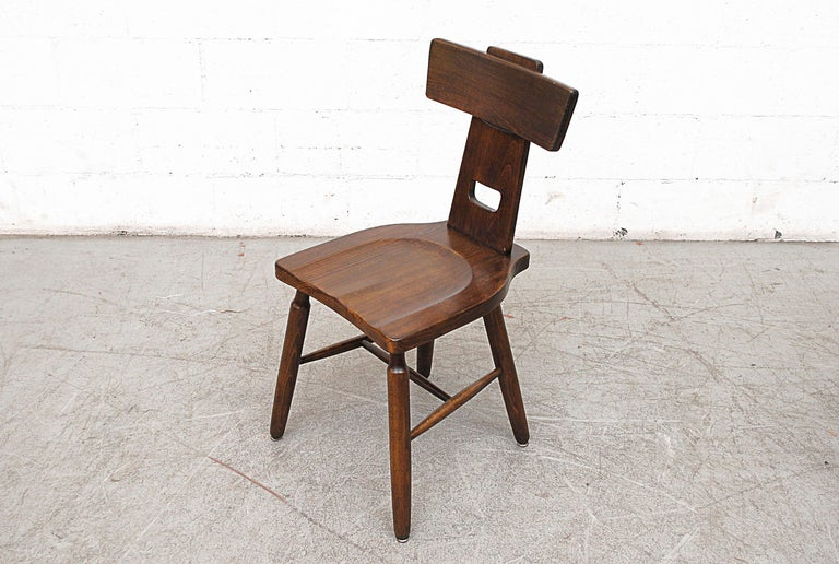 Set of Six Brutalist Pierre Chapo Style Chairs For Sale 2