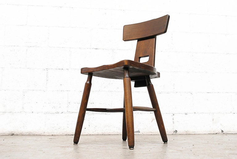 Set of Six Brutalist Pierre Chapo Style Chairs For Sale 3