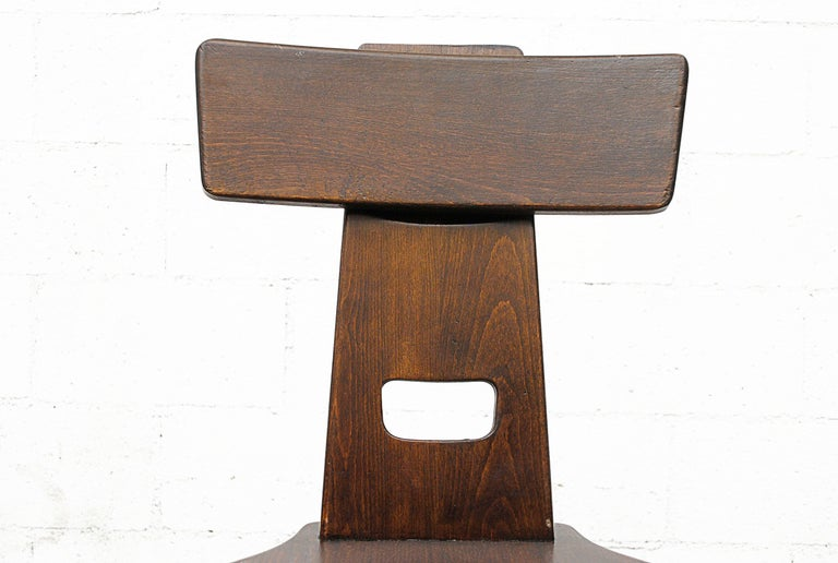 Set of Six Brutalist Pierre Chapo Style Chairs For Sale 4