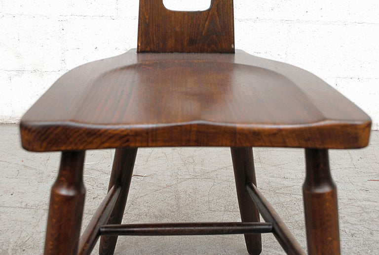 Set of Six Brutalist Pierre Chapo Style Chairs For Sale 5