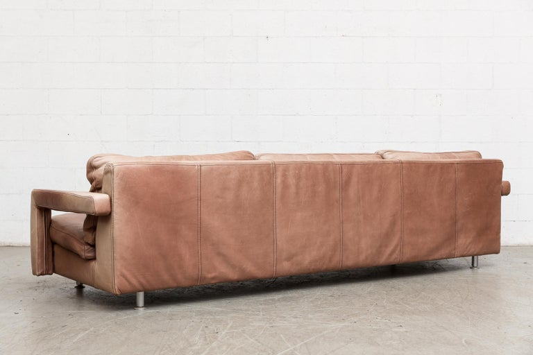 Massive Leather Sofa by Molinari In Good Condition For Sale In Los Angeles, CA