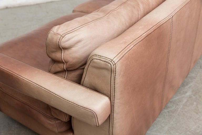 Massive Leather Sofa by Molinari For Sale 2