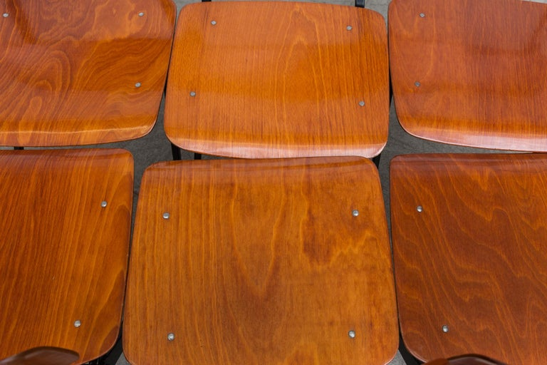 Teak Set of 6 Jean Prouve and Friso Kramer Style School Chairs For Sale