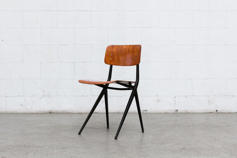Mid-Century Modern Set of 6 Jean Prouve and Friso Kramer Style School Chairs For Sale