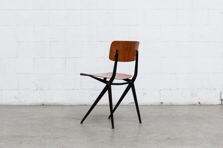 Enameled Set of 6 Jean Prouve and Friso Kramer Style School Chairs For Sale
