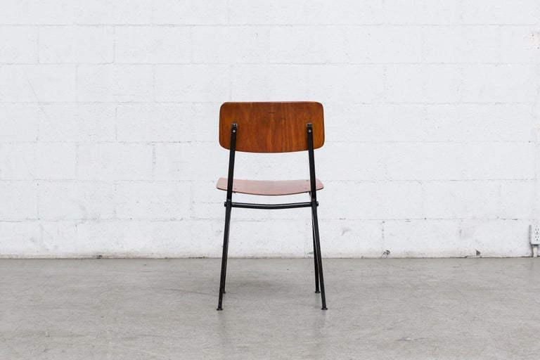 Set of 6 Jean Prouve and Friso Kramer Style School Chairs In Good Condition For Sale In Los Angeles, CA