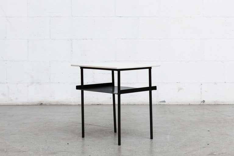 Enameled Rare Wim Rietveld for Auping Small Industrial Side Table For Sale