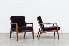 Pair of Mid-Century Lounge Chairs in Amethyst Velvet
