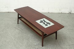 Mid-Century Teak Coffee Table with Inset Mosaic Tile