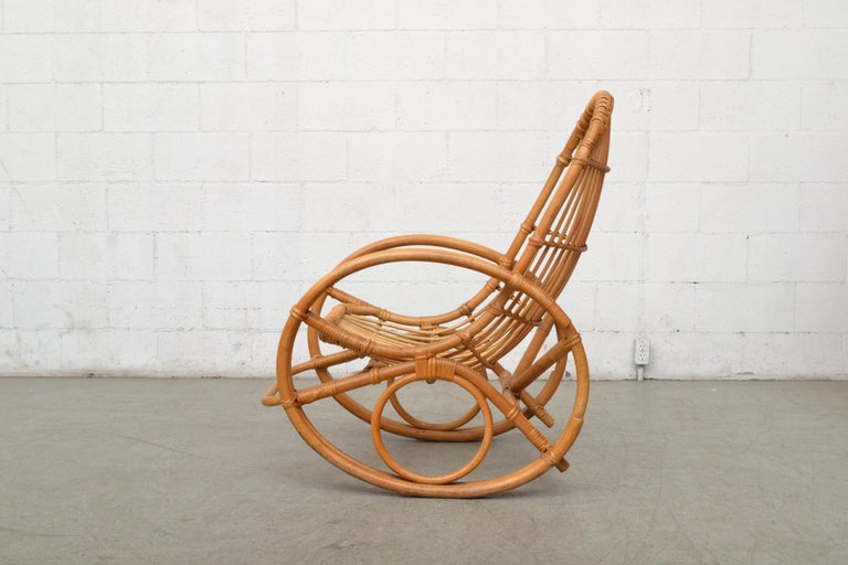 Mid-Century Modern Franco Albini Style Bamboo Rocking Chair For Sale