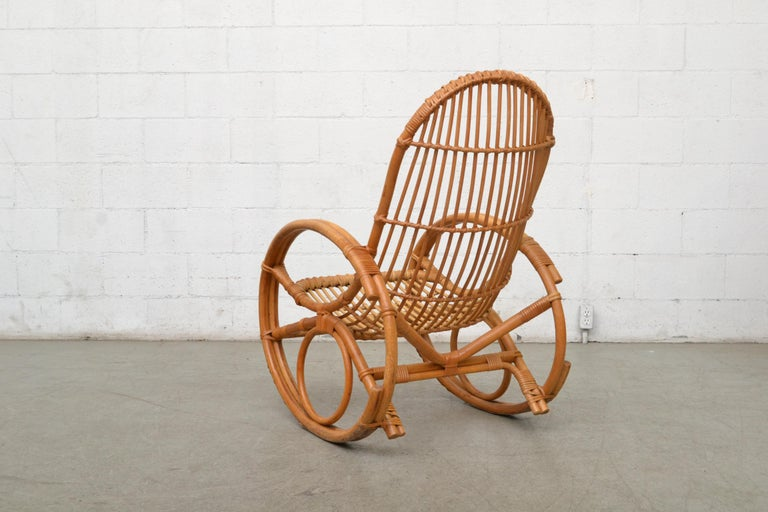 Dutch Franco Albini Style Bamboo Rocking Chair For Sale