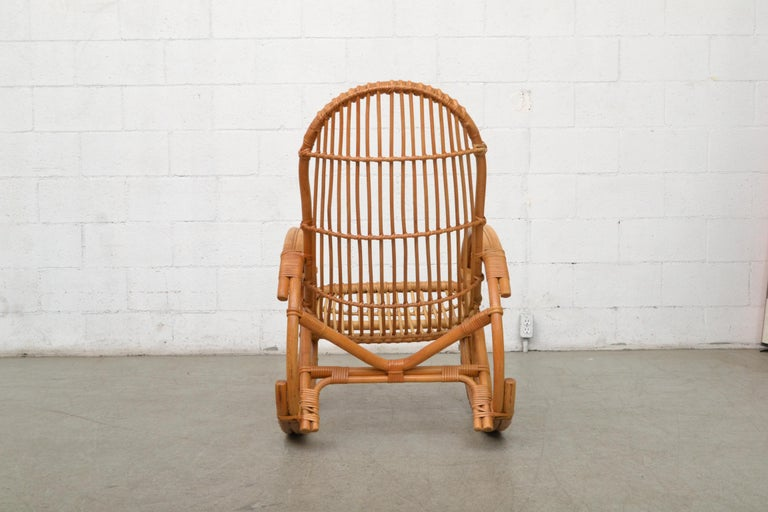 Franco Albini Style Bamboo Rocking Chair In Good Condition For Sale In Los Angeles, CA