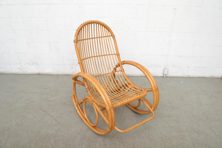 Mid-20th Century Franco Albini Style Bamboo Rocking Chair For Sale