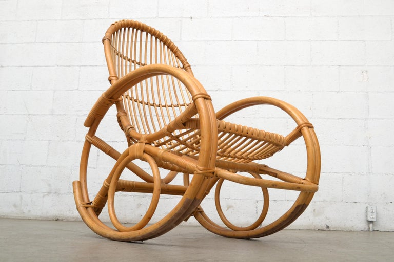 Franco Albini Style Bamboo Rocking Chair For Sale 1