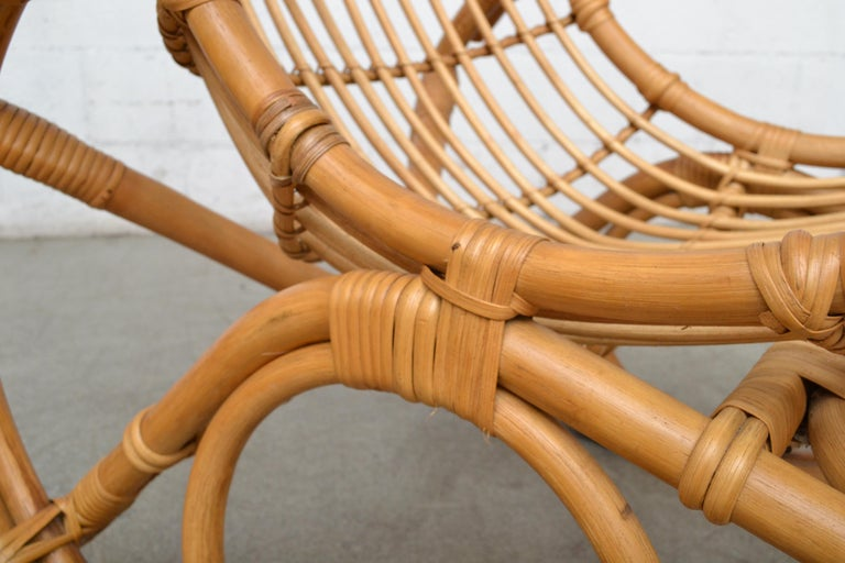Franco Albini Style Bamboo Rocking Chair For Sale 2