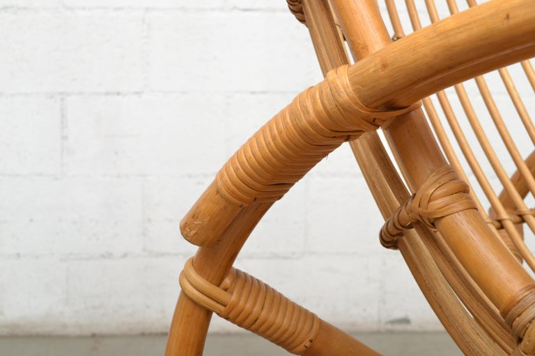 Franco Albini Style Bamboo Rocking Chair For Sale 3