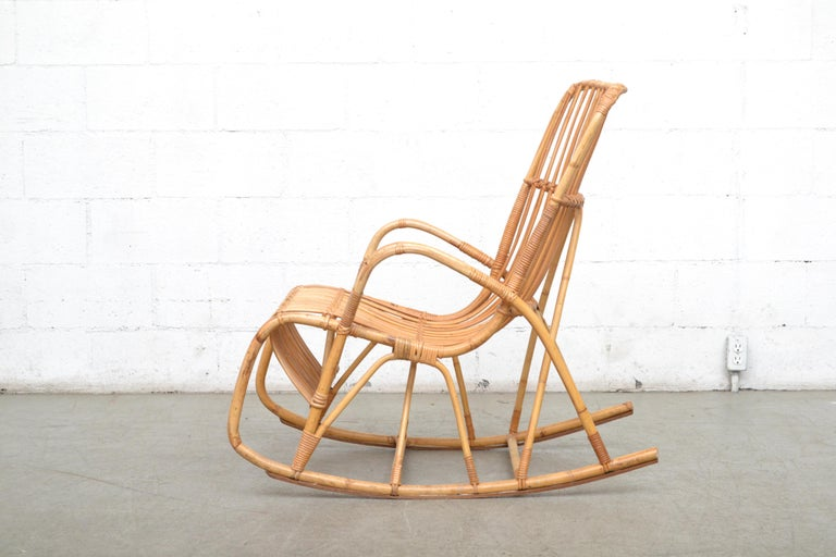 Mid-Century Modern Rohe Noordwolde Bamboo Rocking Chair For Sale