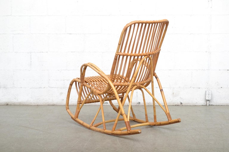 Dutch Rohe Noordwolde Bamboo Rocking Chair For Sale