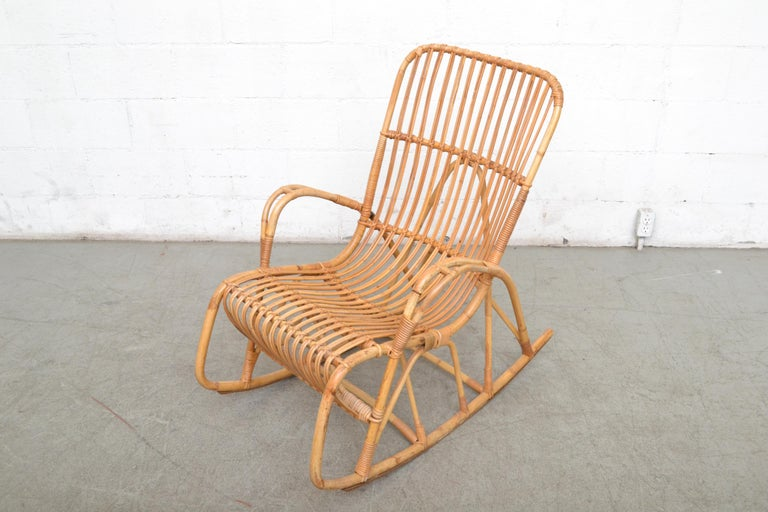 Rohe Noordwolde Bamboo Rocking Chair In Good Condition For Sale In Los Angeles, CA