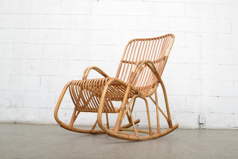 Mid-20th Century Rohe Noordwolde Bamboo Rocking Chair For Sale
