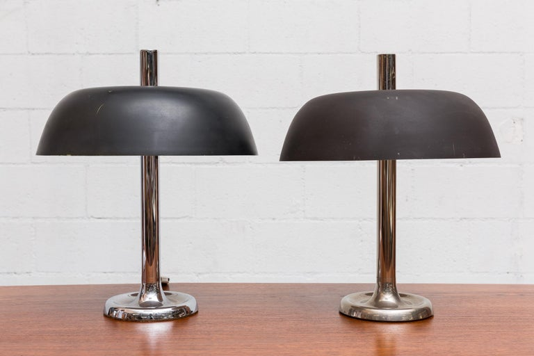 Midcentury desk lamp for Hillebrand, Germany. Matte black enameled metal shade.