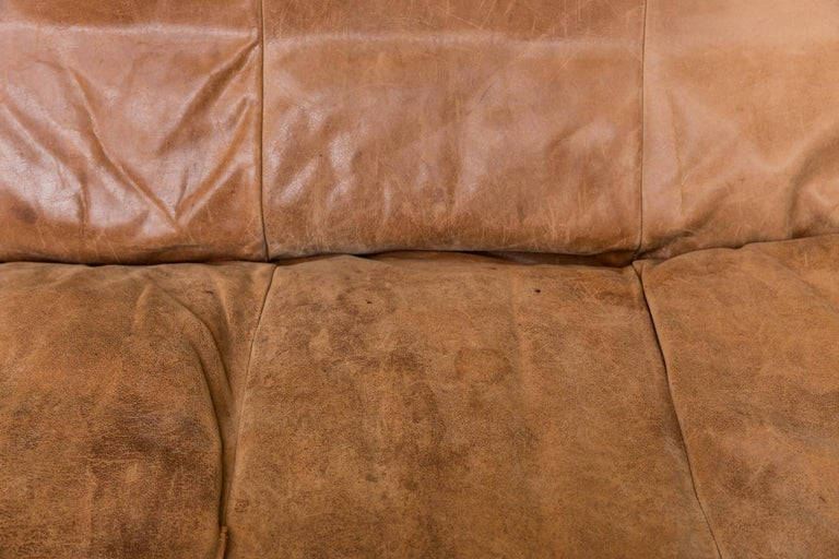 Two-Seat Natural Leather Sofa Designed by Gerard van den Berg for Montis, 1970 For Sale 2