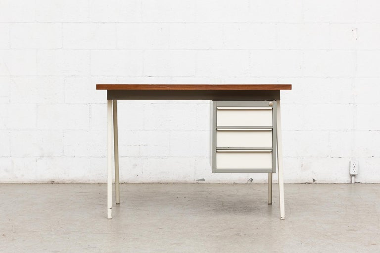 Mid-20th Century Friso Kramer Style 1950s Metal Desk with Prouve Legs For Sale
